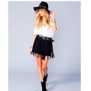 Show Me Your Mumu Rancho Fringe Skirt Faux Suede🖤